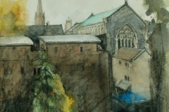 Artist Alexandra Egan - St Andrews Hall from St Andrews Car Park, £320 17x21 Graphite & Watercolour on Paper at Paint Out Norwich 2015