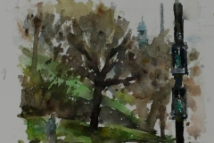 Artist-Andrew-Horrod-Green-Bank-Green-Tower-Green-Men-£250-6x8-Watercolour-on-Paper-at-Paint-Out-Norwich-2015-photo-by-Mark-Ivan-Benfield-6335-1
