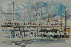 Artist-Andrew-Horrod-The-Forum-£425-12x20-Watercolour-on-Paper-at-Paint-Out-Norwich-2015-photo-by-Mark-Ivan-Benfield-6316-1