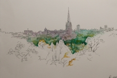 Artist Beverley Coraldean - Norwich Landmarks from Mousehold, £250 7x11 Watercolour & Ink on Paper at Paint Out Norwich 2015