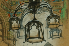 Artist Bradley Morgan Johnson - Royal Arcade Lighting, £330 8x12 Mixed Media on Paper at Paint Out Norwich 2015