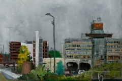 Artist Brian Korteling - Sovereign House 16x16 Oil on Board at Paint Out Norwich 2015