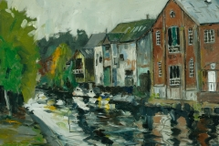 Artist Brian Korteling - Waterfront, £400 16x16 Oil on Board at Paint Out Norwich 2015