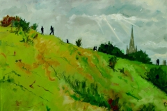 Artist-Brian-Korteling-We-Painted-For-a-While-Then-We-Rolled-Down-the-Hill-£350-14x11-Oil-on-Board-at-Paint-Out-Norwich-2015-photo-by-Mark-Ivan-Benfield-6628-1