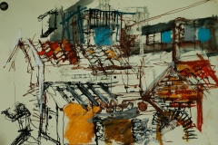 Artist Denis Clarke - Street Study, £500 20x24 Mixed Media on Paper at Paint Out Norwich 2015