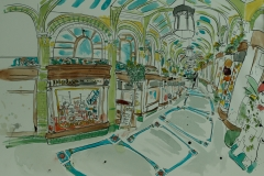 Artist Eloise O'Hare - Chocolate Arcade 18x26.5 Pen, Ink & Watercolour on Paper at Paint Out Norwich 2015