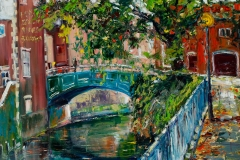 Artist Gennadiy Ivanov - Autumn at Wensum River 32x32 Oil on Canvas at Paint Out Norwich 2015