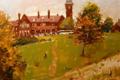 Artist-Haidee-Jo-Summers-Old-Army-Barracks-at-Mousehold-Heath-£850-16x20-Oil-on-Board-at-Paint-Out-Norwich-2015-photo-by-Mark-Ivan-Benfield-6657-1
