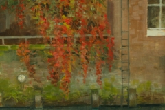 Artist Jennifer Sendall - Red and Green on the River Wensum, £485 12x16 Oil on Linen at Paint Out Norwich 2015
