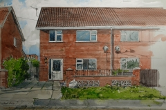 Artist Liam Wales - Michael's House 16x24 Ink, Watercolour & Charcoal on Paper at Paint Out Norwich 2015 photo by Mark Ivan Benfield 6645