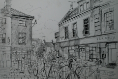 Artist Liam Wales - My Surly Bike on Pottergate, £750 16x24 Ink & Charcoal on Paper at Paint Out Norwich 2015