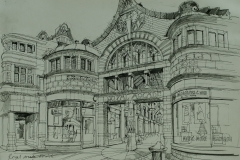 Artist Liam Wales - Royal Arcade, £750 16x24 Ink & Charcoal on Paper at Paint Out Norwich 2015
