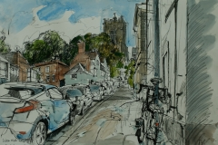 Artist Liam Wales - St Giles on the Hill 16x24 Ink, Watercolour & Charcoal on Paper at Paint Out Norwich 2015