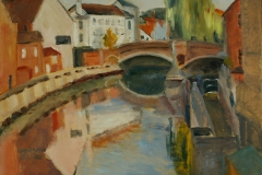 Artist-Mary-MacCarthy-Reflections-£200-12x16-Oil-on-Board-at-Paint-Out-Norwich-2015-photo-by-Mark-Ivan-Benfield-6092-1