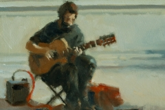 Artist Michael Richardson - A Banking Busker, £650 12x10 Oil on Board at Paint Out Norwich 2015