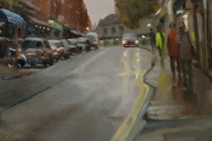 Artist Michael Richardson - Damp Afternoon, St Benedict Street 12x16 Oil on Board at Paint Out Norwich 2015