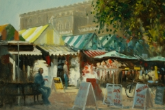 Artist Michael Richardson - Early Light Norwich Market 16x20 Oil on Board at Paint Out Norwich 2015