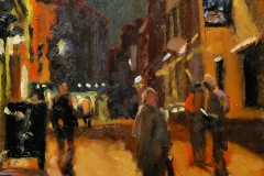 Artist Michael Richardson - Pottergate Nocturne 12x10 Oil on Board Paint Out Norwich 2015