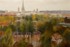 Artist Michael Richardson - The City from Mousehold Heath 16x20 Oil on Board at Paint Out Norwich 2015