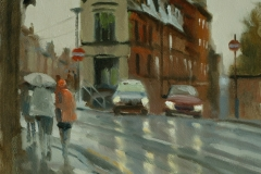 Artist Michael Richardson - Wet Morning, St Benedict Street 12x16 Oil on Board at Paint Out Norwich 2015