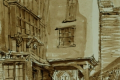 Artist Nigel Moody - Tombland Alley, £395 7x10 Pen, Brush & Ink at Paint Out Norwich 2015 photo