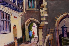 Artist Paul O'Kane - This Way the Maddermarket, £495 16x12 Oil on Canvas at Paint Out Norwich 2015 photo by Mark Ivan Benfield