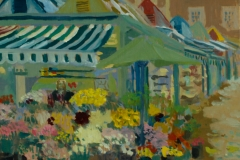 Artist Susan Mann - Flowers in the Rain (Waiting for the Army), £370 7.5x9.5 Studio Prepared Oil on Board at Paint Out Norwich 2015
