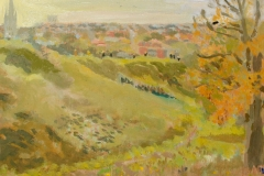 Artist Susan Mann - Silhouettes on Mousehold Brow, £300 8x10 Studio Prepared Oil on Board at Paint Out Norwich 2015