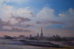 Artist Tom Cringle - Late Arrival, £350 20x28 Acrylic on Canvas at Paint Out Norwich 2015