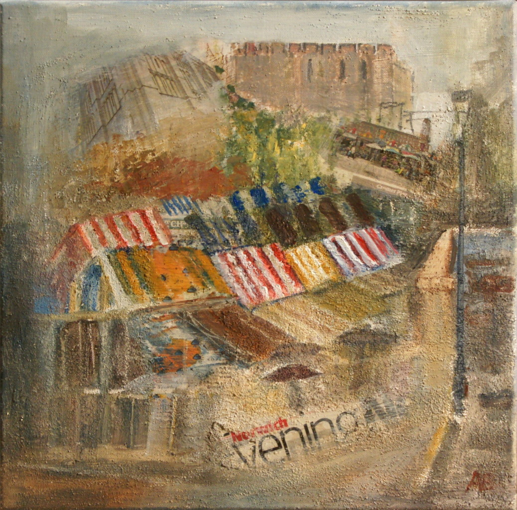 Artist Anthea Eames, 'Impressions on a Wet Day', Norwich Market, £450. Mixed Media, 40x40cm, Paint Out Norwich 2016. Photo by Katy Jon Went