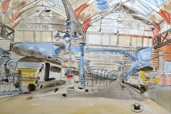 Artist Eloise O'Hare, Anglia Choo Choo, Mixed Media,70x50cm, £420, , Paint Out Norwich 2016. Photo by Katy Jon Went