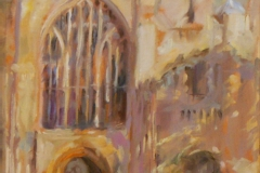 Artist Jerome Hunt 'Cathedral Facade Shadows', Norwich Cathedral, £325 Oil, 13x10in, Paint Out Norwich 2016 - Judges Commendation. Photo by Katy Jon Went