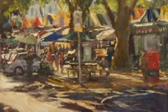 Artist Roger Dellar 'Light after the Rain', Market Square, £600 Oil, 12x12in, Paint Out Norwich 2016 - Oils Second Prize. Photo by Katy Jon Went