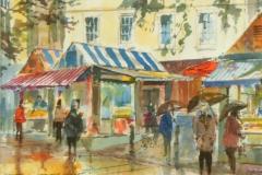 Artist Douglas Boyd Cross, 'Fish Stalls, Norwich Market', £200. Mixed media & ink, 40x30cm, Paint Out Norwich 2016. Photo by Katy Jon Went