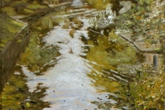 Artist Tanya Pawsey 'Swans from Bishop Bridge', £195 Oil, 10x12in, Paint Out Norwich 2016 - Judges Commendation. Photo by Katy Jon Went