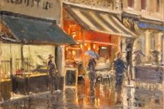 Artist Roger Dellar, 'Pandoras in the Rain', London Street, £600. Oil, 12 x 12, Paint Out Norwich 2016. Photo by Katy Jon Went
