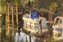 Artist Roger Dellar, 'Gentle Reflection', River Wensum, £500. Oil, 10 10, Paint Out Norwich 2016. Photo by Katy Jon Went