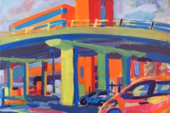 Artist David Lindsay, 'Flyover Painting', Under Flyover Magdalen Street, SOLD. Acrylic, 24x18in, Paint Out Norwich 2016. Photo by Katy Jon Went