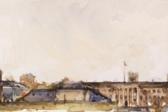 Artist Andrew Horrod 'Norwich Skyline from Norwich Castle', £400 Watercolour, 8x16in, Paint Out Norwich 2016 - Watercolour Second Prize. Photo by Katy Jon Went