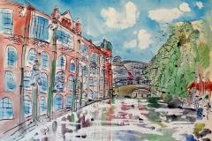 Artist Eloise O'Hare, River Canoe Art School, Mixed Media,70x50cm, £490, Paint Out Norwich 2016. Photo by Katy Jon Went