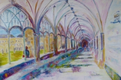 Artist Corrin Tulk, 'Passages', Cloisters, Norwich Cathedral, £1250. Oil, 26x38in, Paint Out Norwich 2016