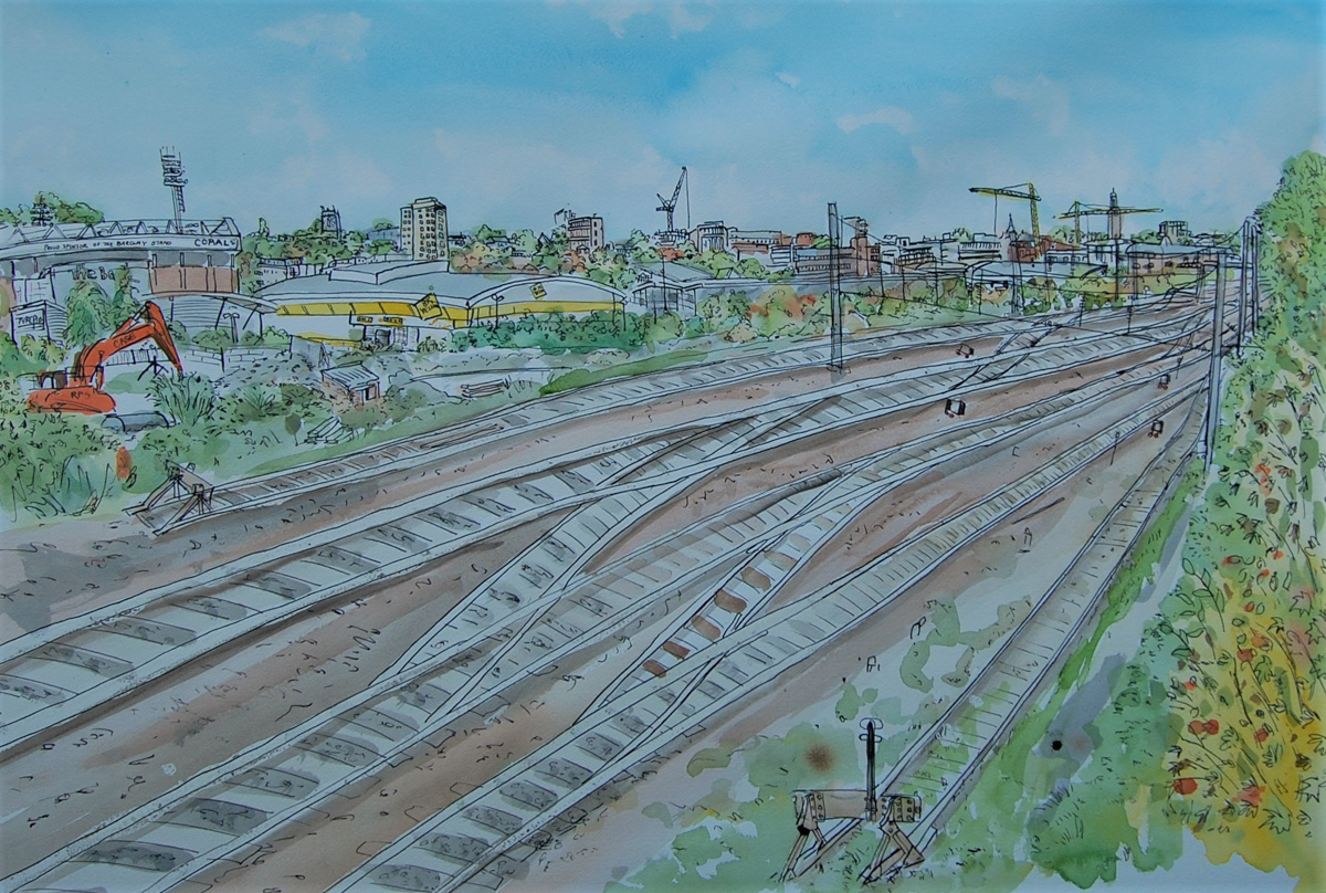 Artist Eloise O'Hare, 'Keeping Track of Time', Back of Station, Norwich, Watercolour, Dip Pen & Ink, 80x58.5cm, £460. Photo by Artist