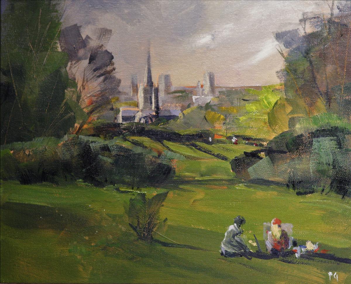 Artist Paul Gadenne, 'Norwich Cathedral', Mousehold Heath, Oil, 10x12in, £100. Photo © Katy Jon Went
