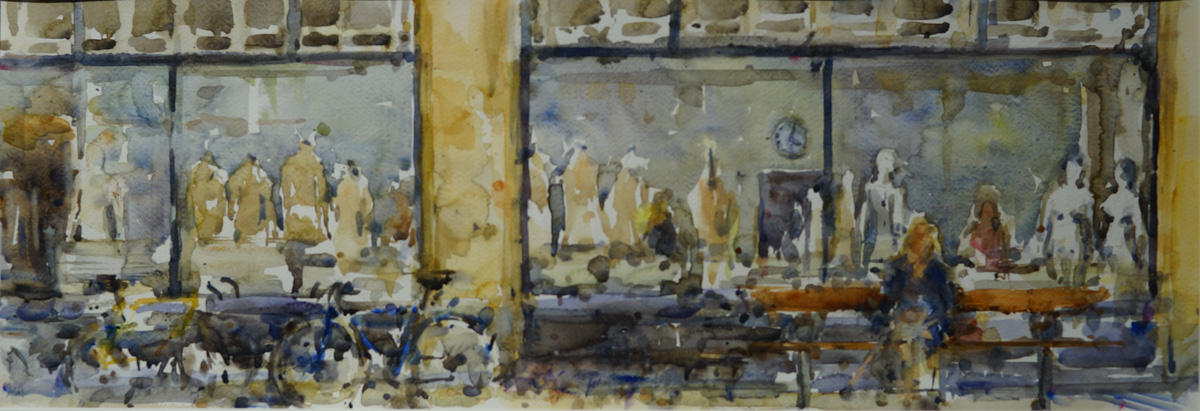 Artist Andrew Horrod, 'Five Past Four, Gunton Building', Outside Norwich University of the Arts, Watercolour, 23x67cm, £440. Photo © Katy Jon Went