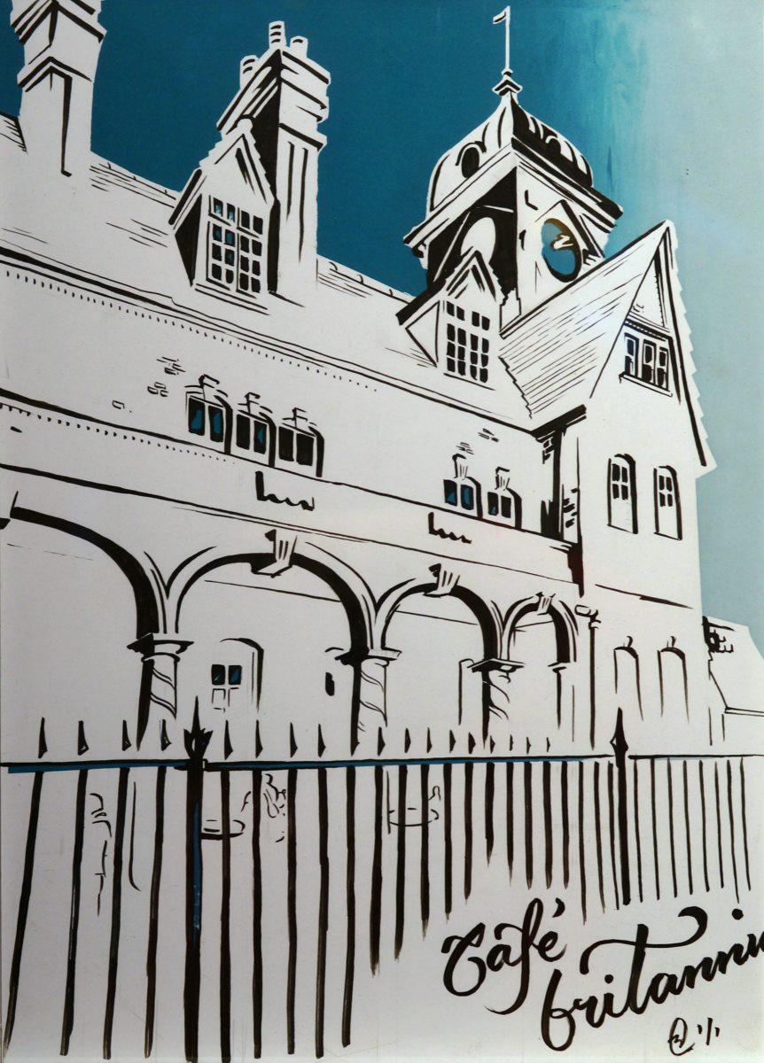 Artist Beverley Coraldean, 'Café Britannia ~ A Sunny October Afternoon', Mousehold Heath, Screenprint & Ink, 42x30cm, £175 SOLD. Photo © Katy Jon Went