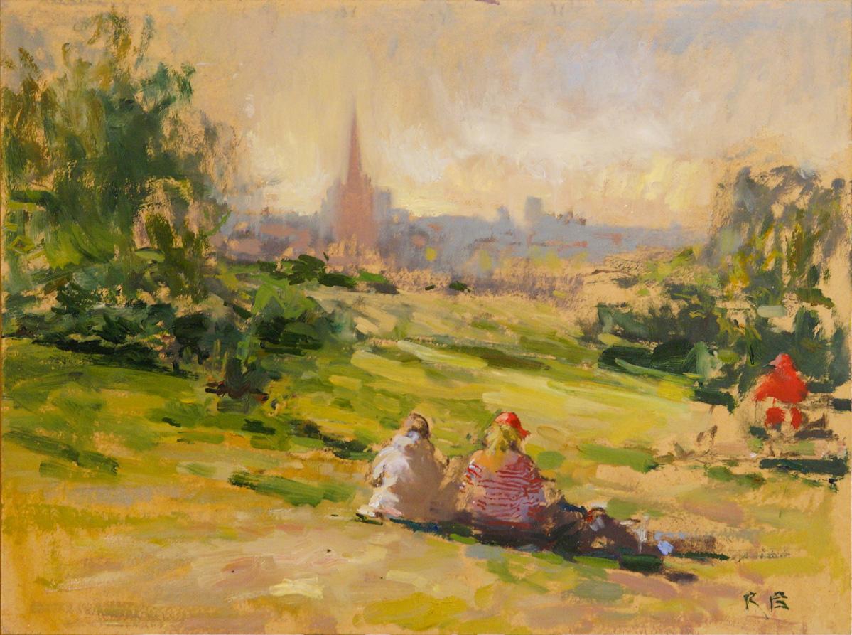 Artist Richard Bond, 'Indian Summer, Mousehold Heath', Norwich, Oil, 12x16in, £275. SOLD Photo © Katy Jon Went