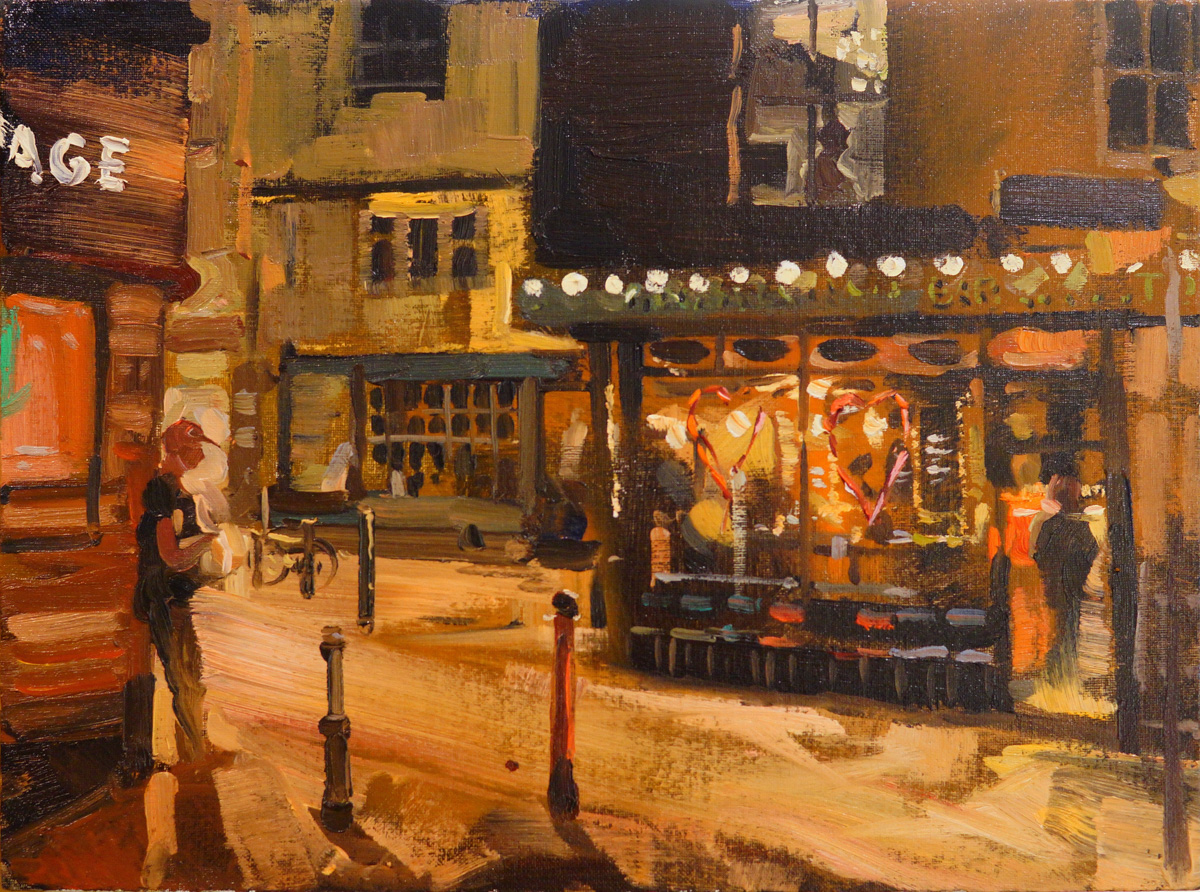 Artist Robert Nelmes, 'Sasha Eating His Chips', Pottergate, Norwich, Oil, 41x30cm, £375. Photo © Katy Jon Went