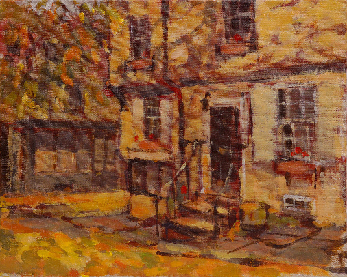 Artist Alex Atkinson, 'Under the Elm', Elm Hill, Acrylic, 10x8in