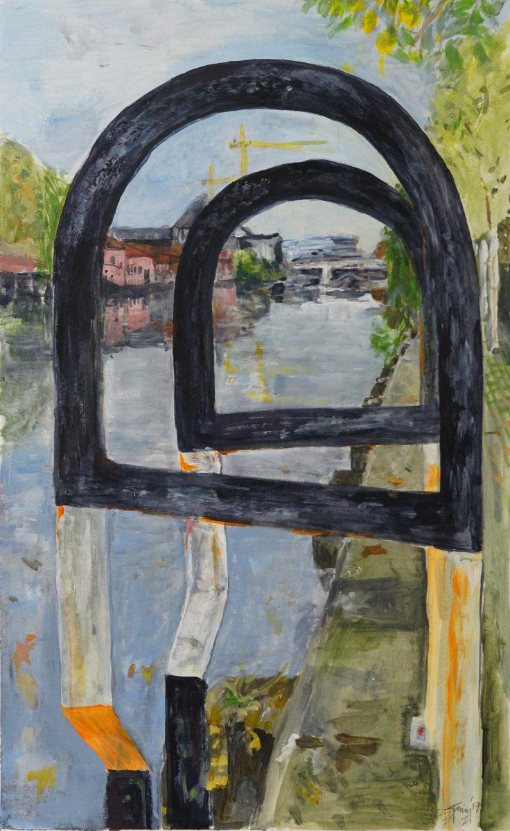 Artist Virginia Bain, 'Safety Railings onto the Wensum', Riverside, Norwich, Acrylic, 42x26cm, £100. Photo © Katy Jon Went