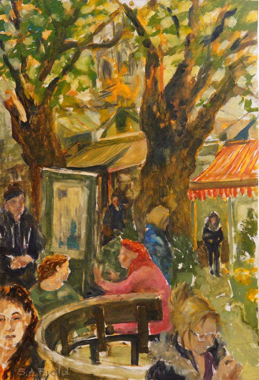 Artist Susan Field, Title Communication, Location Norwich Market, Media Oil, Size 15x21cm, £300. Photo © Katy Jon Went